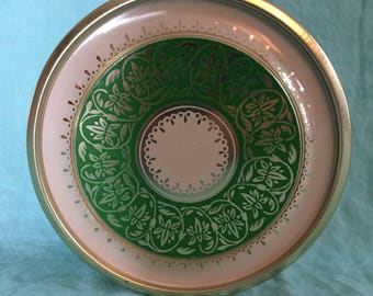 Vintage Green and White Tin with Goldtone Made in Brazil