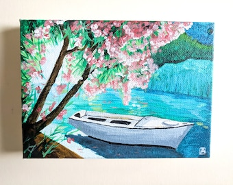 "Boat in a Lake Original Artwork, 4"" x 6"" Acrylic on Canvas Painting"