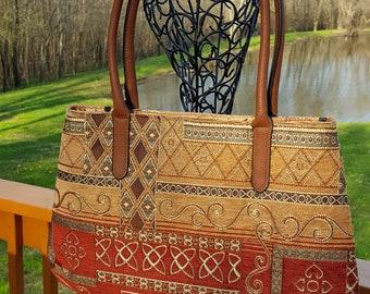 Tapestry Fabric Handbag Purse Large Bag Brown Copper Rust Green