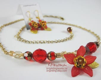 Perennial, Earring/Necklace Set; Tropical or Festive in Rich Red and Gold Glass and Metal.  Playful Movement & Simple Elegance