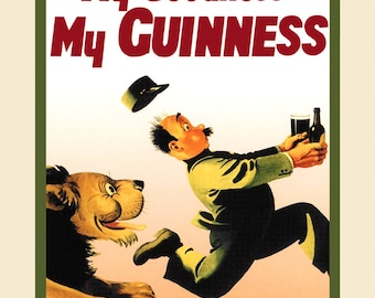 Beer Guinness  Lion My Goodness My Guinness Irish Ireland Dublin Vintage Poster Repro FREE SHIPPING in USA Standard Image Sizes for Framing