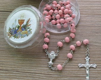 First Holy Communion Scented Rosary Favor - 12 Rosaries with individual Gift box and Organza Bag. (6mm, White) JN291FI-Pnk
