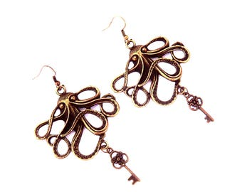 Bronze large octopus, Octopus and key steampunk earrings