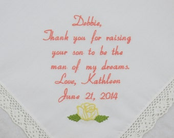 Mother of the Groom Wedding Gift for Future Mother in Law gift Personalized Wedding Embroidered Handkerchief hankerchief Mom of the groom