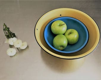 Two Vintage Enamelware Mixing Bowls - Yellow and Blue