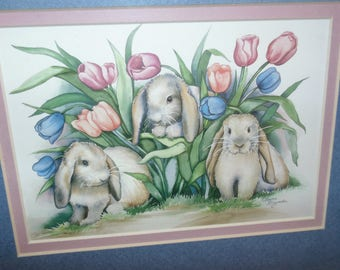"""Vintage Laurie Korsgaden Bunny Rabbit in garden watercolor wood Framed Picture Matted signed decor 1980s Kitsch 13"""" x 11"""""""