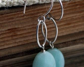 Blue Amazonite Stone & Sterling Silver Earrings