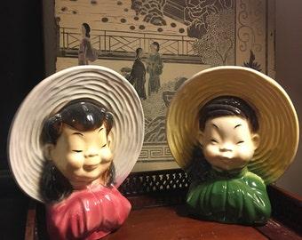 Royal Copley ceramic asian planter set