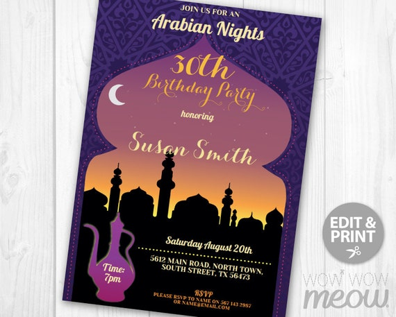 Arabian Nights Birthday Invitations Any Age Invite INSTANT