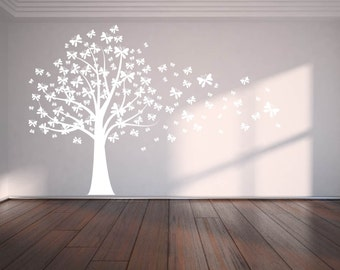 wall decals - Nursery decals - butterfly tree decal - blowing tree decal - vinyl wall decal - removable wall decal