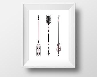 Arrows Art Print 8x10 - Print wall decor, black / white, tribal southwestern hand drawn