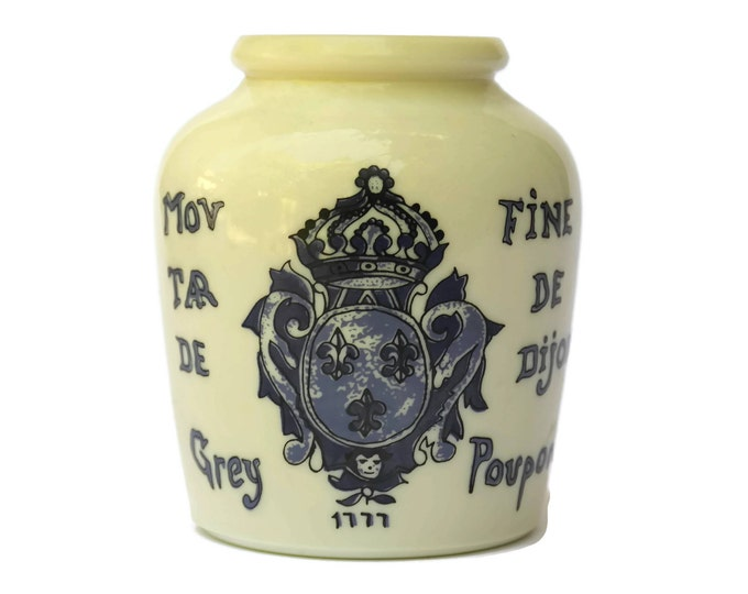 French Mustard Pot. Grey Poupon Dijon Mustard Jar with Heraldic Crest and Fleur de Lys. Blue and White Milkglass Jar.
