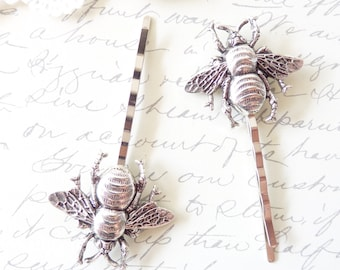 Ox Sterling Silver Bumble Bee Hair Pins - Silver Bumble Bee Bobby Pins - Bumblebee - Woodland Hair Pins- Nature Wedding Hair Pins
