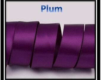 "plum ribbon, 5 Yards double sided 1"" satin plum ribbon, 25mm ribbon"