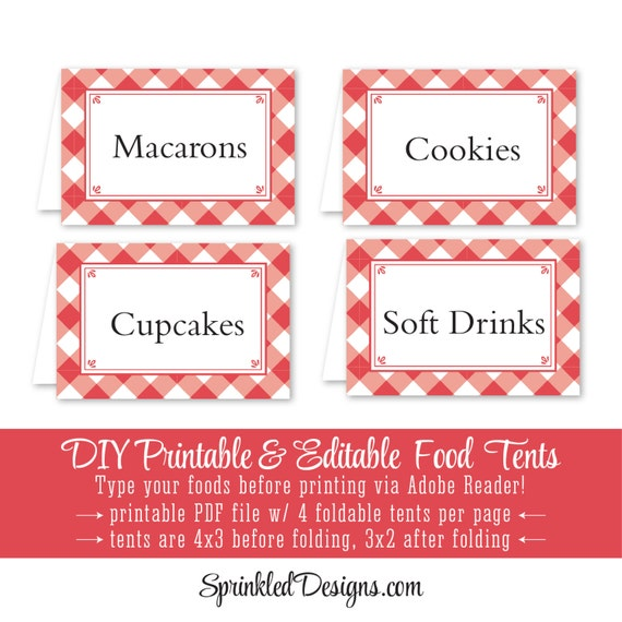 red checked gingham printable party food tents folding