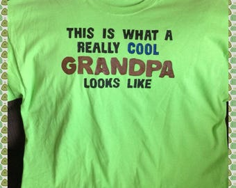 Green Grandpa Tshirt Hand Painted