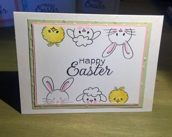 Plaid Easter Bunny and Friends Happy Easter Greeting Card