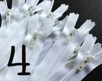 YKK zippers wholesale, sale - Fifty 4 inch white YKK zippers - short dress, pouch, all purpose zippers - YKK color 501
