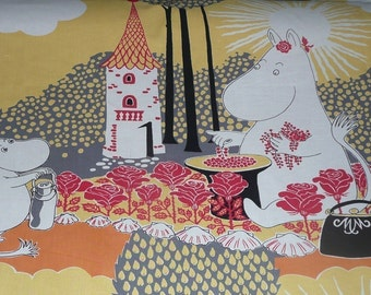 Moomin fabric, Rose Moomin. Yellow, orange, red cotton. Roses.  Moomins fabrics.