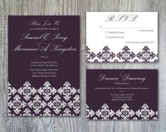 Elegant Plum Damask Inspired Wedding Invitation Set - Print it Yourself or Printed for You