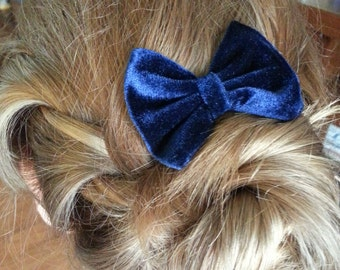 Blue Velvet Hair Bow