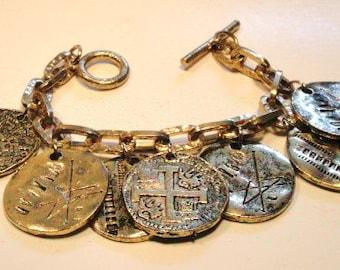 Vintage faux old coins bracelet