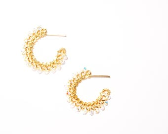 Small Swarovski Crystal Gold or Silver Hoops