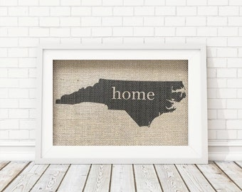 State Silhouette Home Sign, State Silhouette Sign, Home Print, NC Home Sign, Custom Home Sign, Custom State Silhouette, State Wall Art