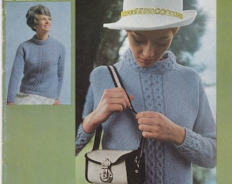 ON SALE Paton's Knitting Pattern No 859  Ladies Town 'N Country in Pebble  (Vintage 1970s)