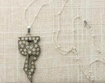 Sterling Silver Art Deco Necklace Delicate Chain Simple Rhinestone Pendant 925 Sterling 1920s Jewelry 16E