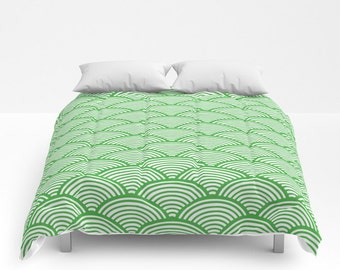 Green Duvet Cover, Full Queen King Duvet, Green Comforter, Modern Bedroom Decor, Japanese Wave Pattern, Greenery, Bold Bedroom, Minimalist