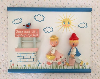 Vintage Irmi Nursery Originals Jack and Jill wooden plaque, 1960s midcentury wall art, nursery rhyme wallhanging, wishing well, birdie