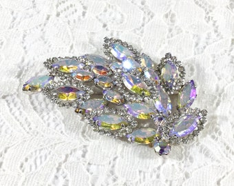 Vintage WEISS AB and Clear Rhinestone Leaf Brooch