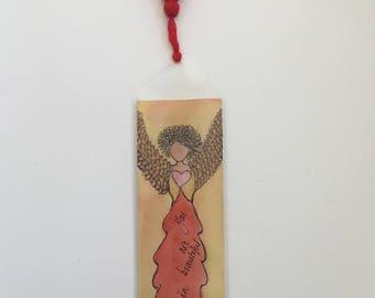 Handpainted watercolor Angel bookmark with tassel.