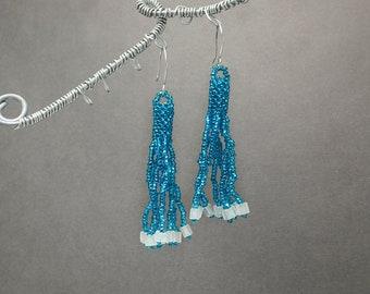 Sale, Fringe Earrings, Blue Earrings, Beaded Earrings, Tassel Earrings, Boho Earrings, Seed Bead Earrings