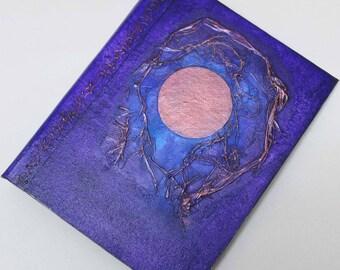 Handmade Journal Refillable Moon blue violet copper 9x7 Original traveller notebook fauxdori