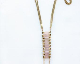 Rose quartz//Moonstone + opal stone necklace//Chakra necklace//Gift for woman//Pink stone necklace//OOAK//Custom length//Statement necklace