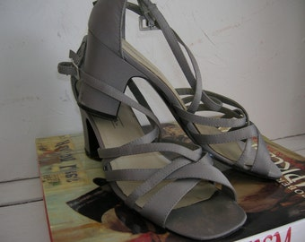 Vintage Satin Gray Strappy Shoes