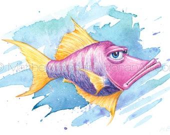 "PRINT of ""Smugfish"" Crazy Fish, Fish Art, Fish Painting, Fish Print, Watercolor, Wall Art Home Decor, Funny Fish Cartoon, Fishing, Kids Room"