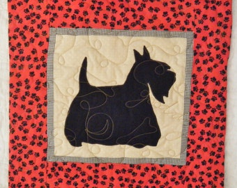 Scotty Scottish Terrier - Quilted Dog throw pillow 16 inches