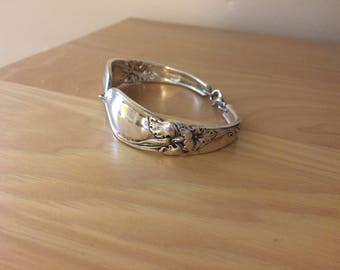 White orchid pattern silver plated spoon bracelet