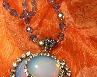 Opal Pendant with Rhinestone Surround and Irridescent Blue Glass Beads Necklace Set