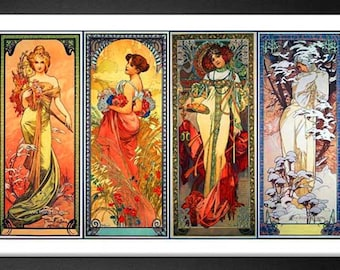 Mucha Poster The Four Seasons Art Nuveau Print