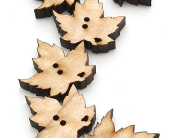 Red Maple Leaf Wood Buttons - Laser Cut from Sustainable Harvest Wisconsin Wood . Timber Green Woods