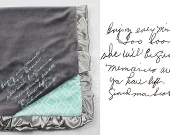 Handwritten embroidery on blanket CUSTOM
