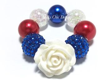 Toddler or Girls Chunky Flower Bracelet - Fourth of July Flower Bracelet - Red, White and Blue Bracelet - Chunky Rose Bracelet - Patriotic