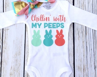 Chillin' With My Peeps in Pastels Baby Girl Bodysuit