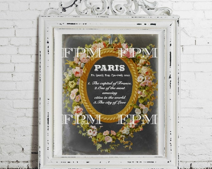 Digital Paris Definition Print, French Ephemera Floral Frame, Printable Paris Collage, French Pillow Image, Ornate Frame