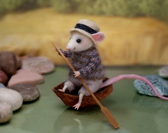 Needle Felted mouse , Woolen mouse , Мouse with a boat , Мouse on the river , Art Doll , Miniature animal , Eco-friendly