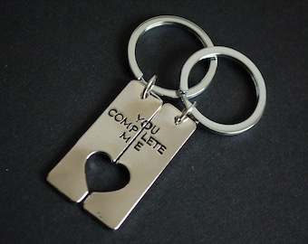 You complete me set of two Keychains Keyrings